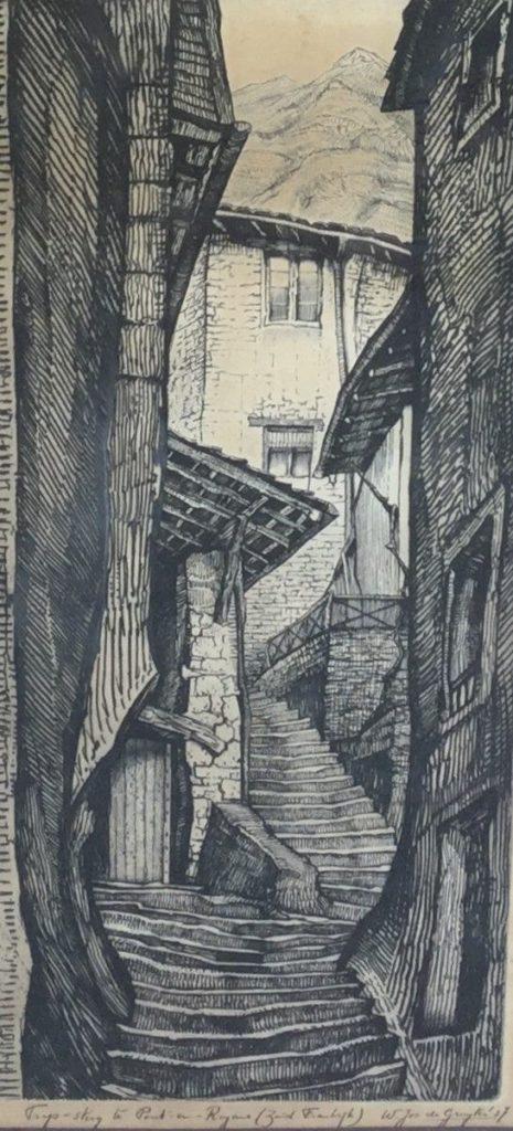 Schilderijen te koop, kunstschilder W. Jos de Gruyter Trap-steeg te Pont en Royans (zuid-frankrijk) ets, beeldmaat 52 x 22.5 cm rechtsonder gesigneerd en gedateerd 27, expositie Galerie Wijdemeren Breukeleveen