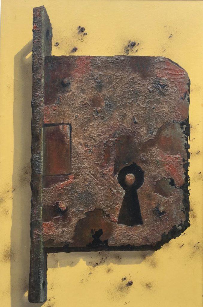 Schilderijen te koop van kunstschilder Bert Kinderdijk Slot gemengde technieken op paneel op paneel paneelmaat 75 x 50 cm, achterpaneel 78.5 x 53.5 cm ongesigneerd, Expositie Galerie Wijdemeren Breukeleveen