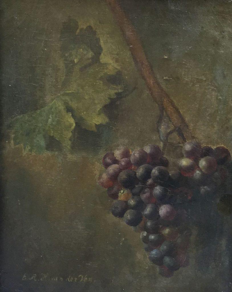 Schilderijen te koop van kunstschilder E.A.H. van der Ven Stilleven met druiventros maroufle, 40 x 31 cm linksonder gesigneerd, Expositie Galerie Wijdemeren Breukeleveen