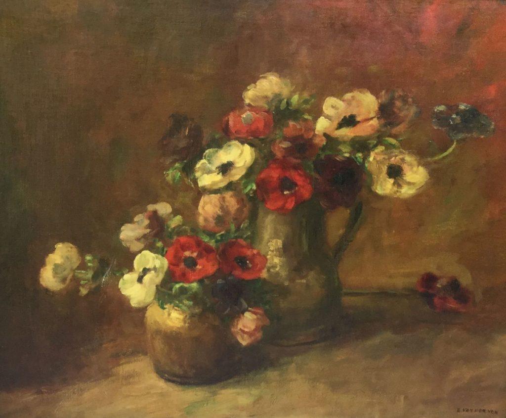Schilderijen te koop van kunstschilder Emanuel van der Ven Stilleven met anemonen olie op doek, doekmaat 60 x 73.5 cm rechtsonder gesigneerd, Expositie Galerie Wijdemeren Breukeleveen