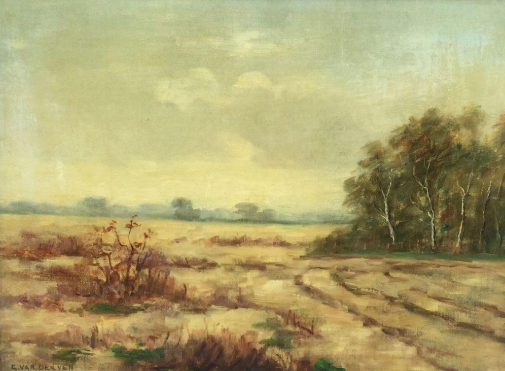 Schilderijen te koop van kunstschilder Emmanuel van der Ven Landschap langs bosrand olie op doek, 31 x 41 cm linksonder gesigneerd, Expositie Galerie Wijdemeren Breukeleveen