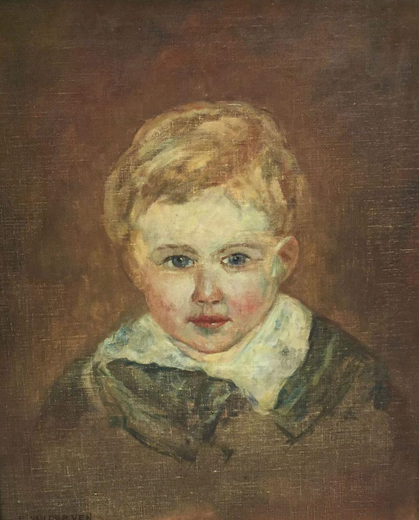 Schilderijen te koop van kunstschilder Emmanuel van der Ven jongensportretje olie op doek, doekmaat 42 x 35 cm, Expositie Galerie Wijdemeren Breukeleveen