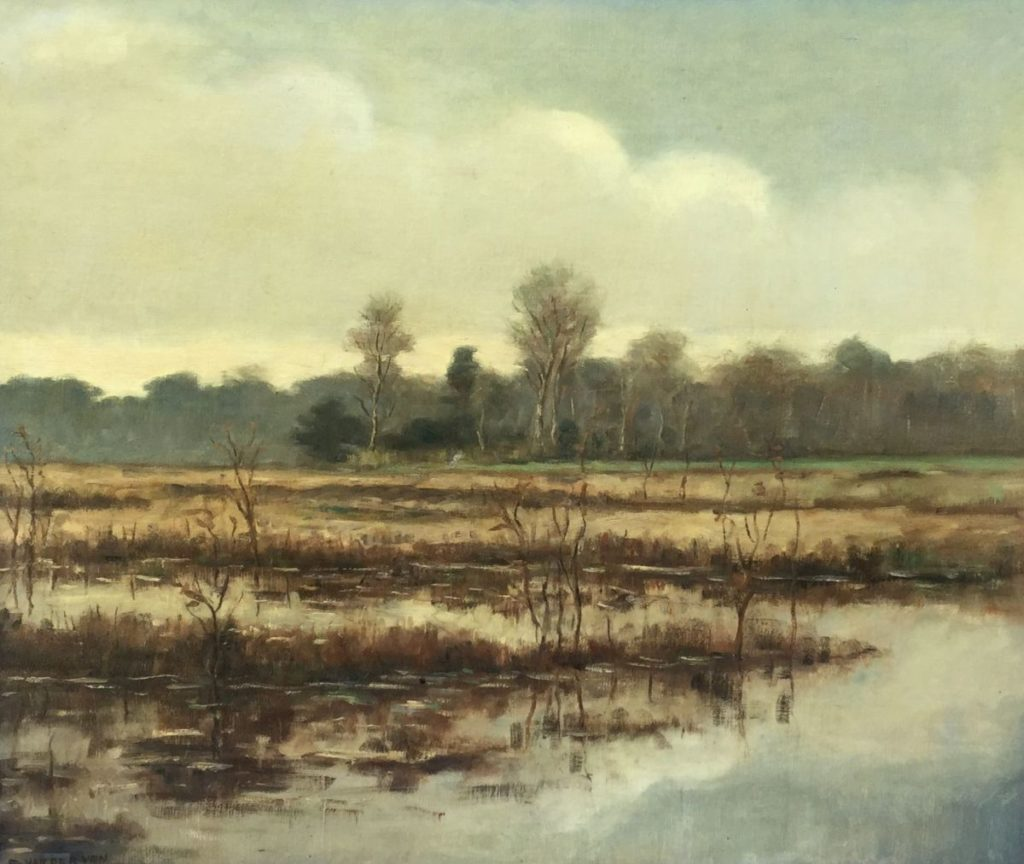 Schilderijen te koop van kunstschilder E. van der Ven Zandvlakte bij het Wasmeer Hilversum olie op doek, 54.5 x 64.5 cm linksonder gesigneerd, Expositie Galerie Wijdemeren Breukeleveen