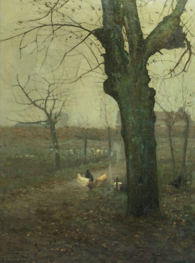 Schilderijen te koop van kunstschilder Emanuel van der Ven Herfstnevel, boerenlandschap met kippetjes onder winterse boom olie op doek, , doekmaat 52 x 86.5 cm linksonder gesigneerd en gedateerd 1904, Expositie Galerie Wijdemeren Breukeleveen