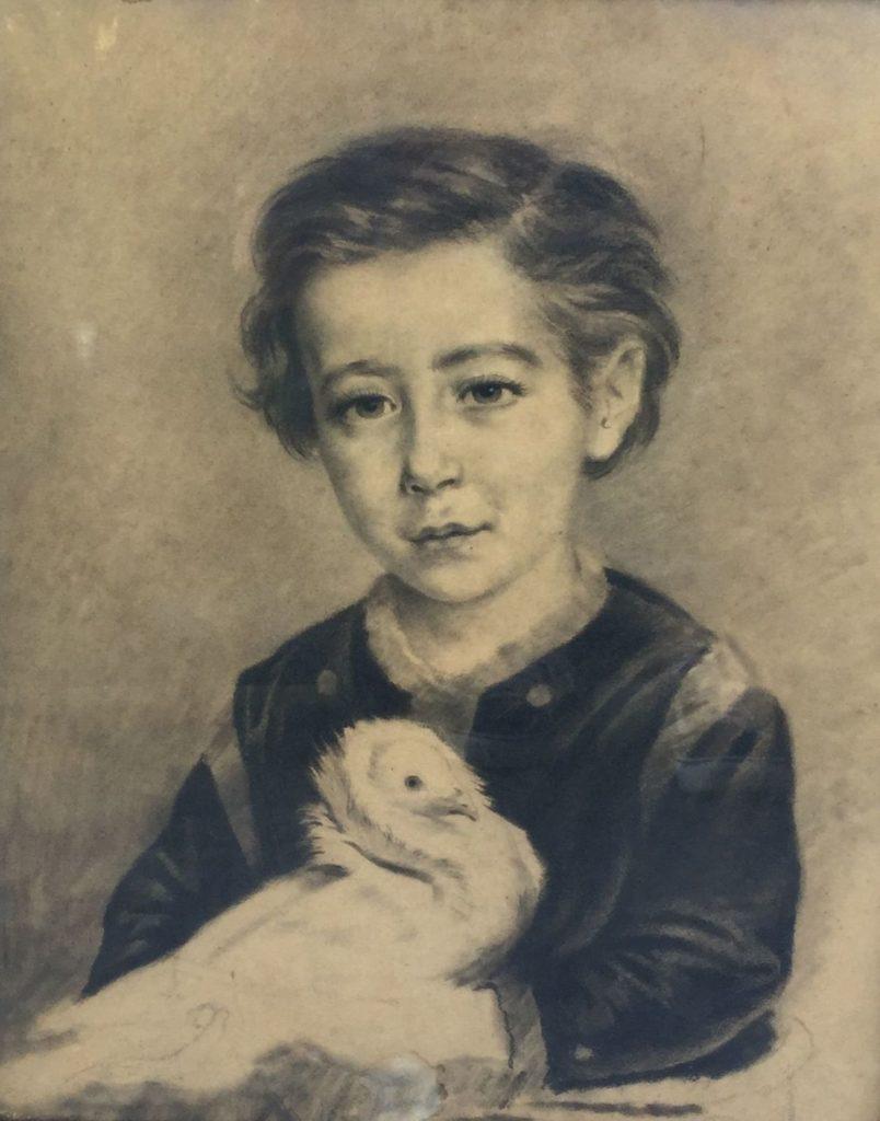 Schilderijen te koop van kunstschilder Ernest Adrianus Henricus van der Ven Portret van E.E.G. van der Ven van 6 jaar oud tekening, 45.5 x 37 cm verso gesigneerd, Expositie Galerie Wijdemeren Breukeleveen