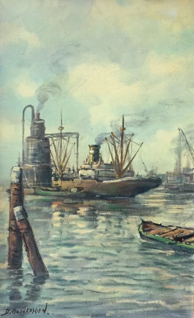 Schilderijen te koop van kunstschilder D. Oudheusden Vrachtschip in de haven olie op doek, doekmaat 55 x 35 cm linksonder gesigneerd, Expositie Galerie Wijdemeren Breukeleveen