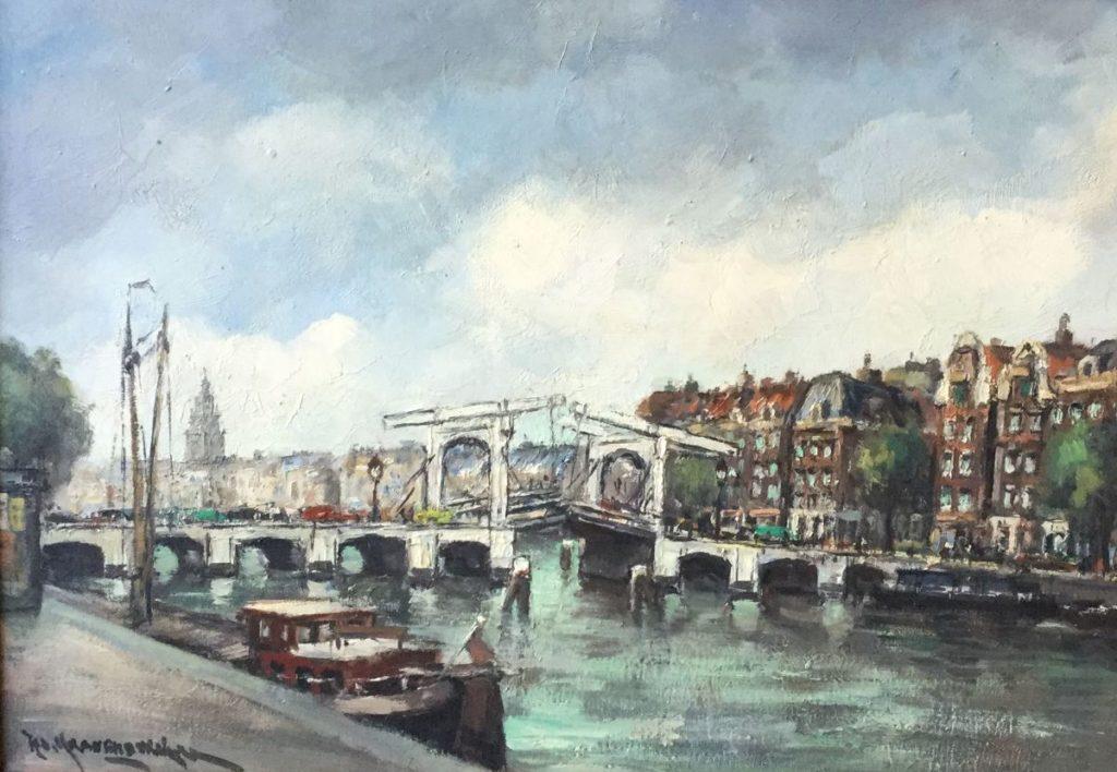 Schilderijen te koop van kunstschilder H.C. Kranenburg Stadsgezicht met ophaalbrug boven de gracht olie op doek, 50 x 70 cm linksonder gesigneerd, Expositie Galerie Wijdemeren Breukeleveen