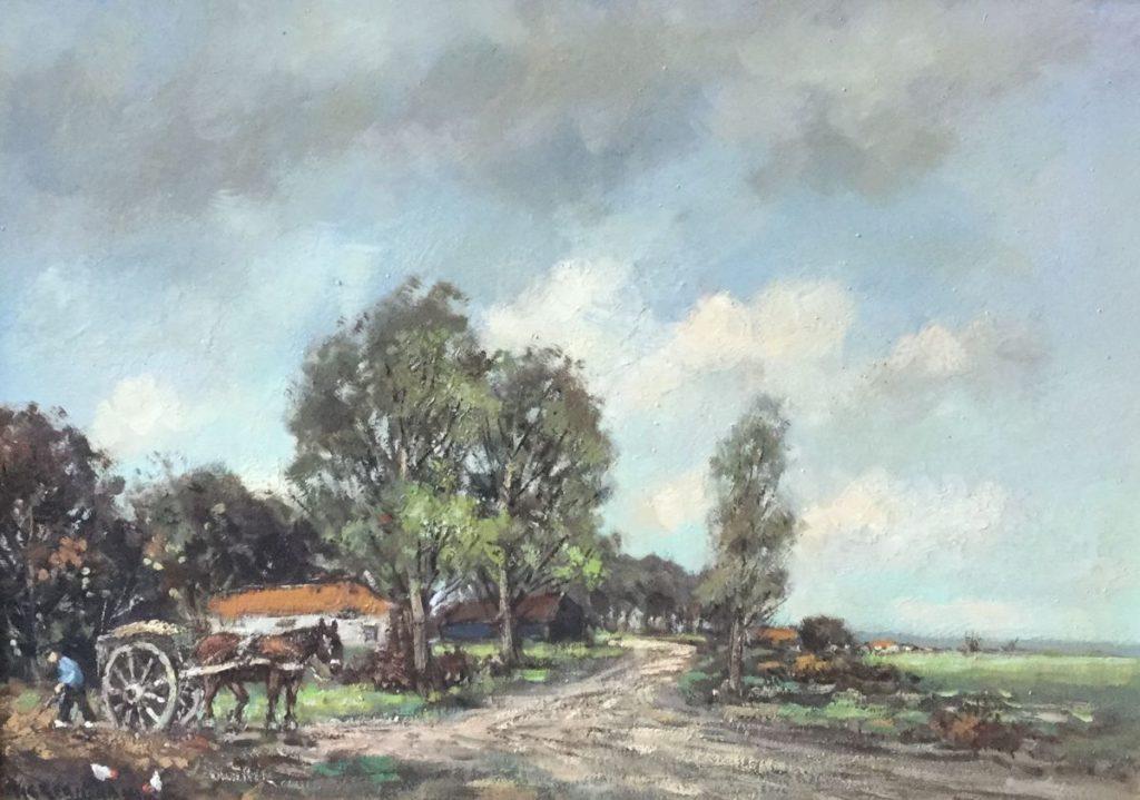Schilderijen te koop van kunstschilder H.C. Kranenburg Landarbeider met paard en wagen bij boerderij in boerenlandschap olie op doek, doekmaat 50 x 70 cm linksonder gesigneerd, Expositie Galerie Wijdemeren Breukeleveen