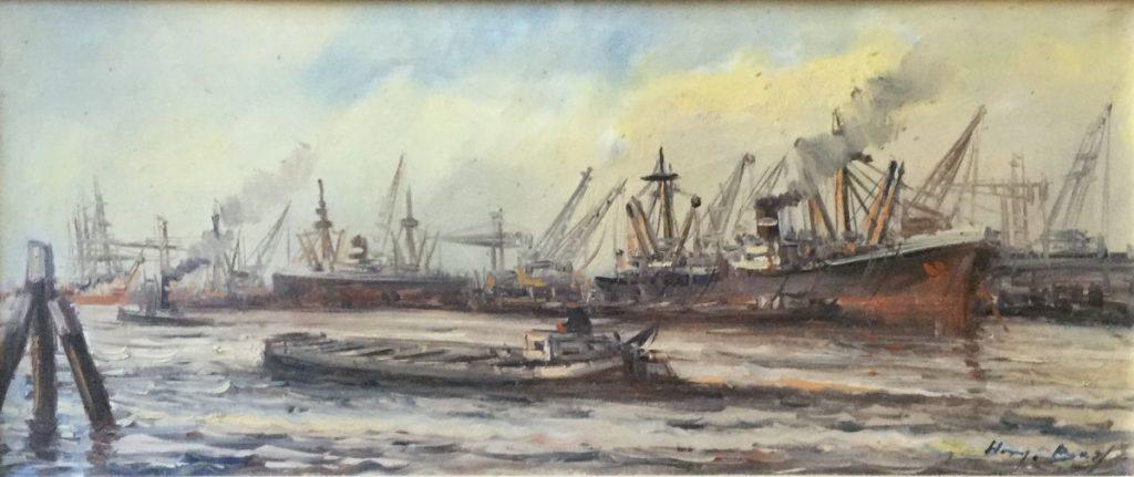 Kunst te koop bij Galerie Wijdemeren van Henk Bos Bedrijvigheid in de haven olie op doek, 30 x 70 cm rechtsonder gesigneerd