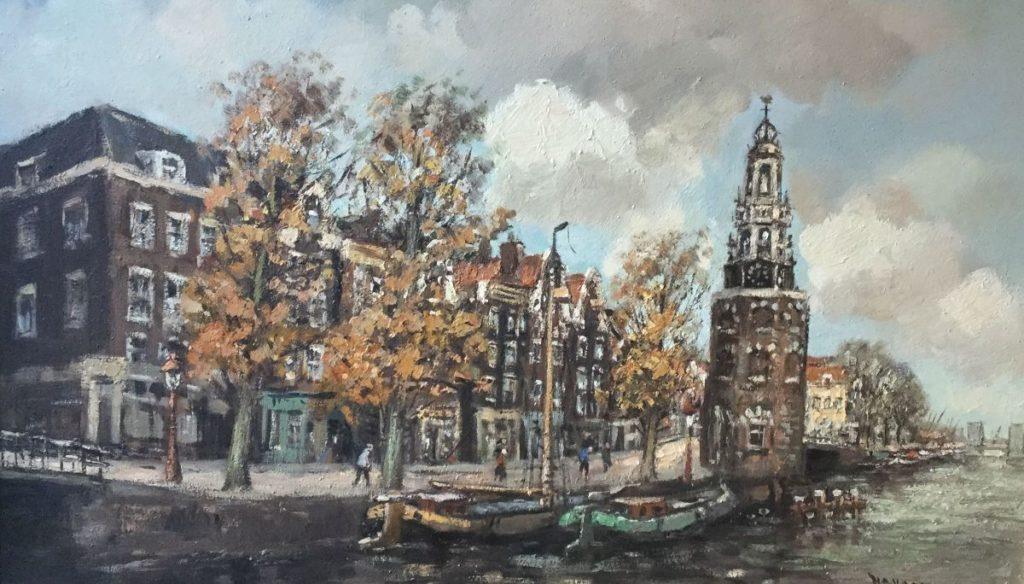 Schilderijen te koop van kunstschilderH.C. Kranenburg Stadsgezicht met toren aan het water olie op doek, 60 x 101 cm rechtsonder gesigneerd, Expositie Galerie Wijdemeren Breukeleveen