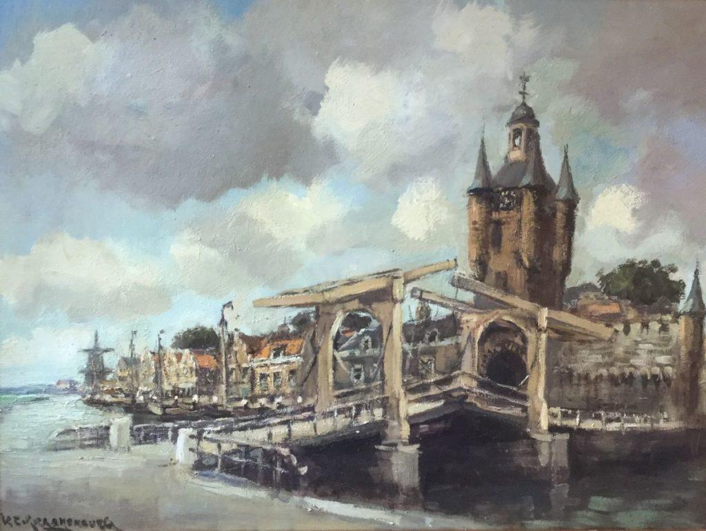 Schilderijen te koop van kunstschilder H.C. Kranenburg Ophaalbrug voor stadstoren olie op doek, 60 x 80 cm linksonder gesigneerd, Expositie Galerie Wijdemeren Breukeleveen