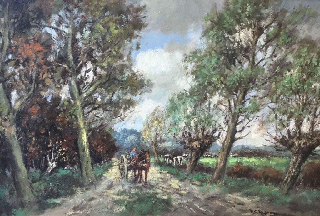 Schilderijen te koop van kunstschilder H.C. Kranenburg Boerenkar met paard op bospad langs weiland met koeien olie op doek, 60 x 90 cm rechtsonder gesigneerd, Expositie Galerie Wijdemeren Breukeleveen