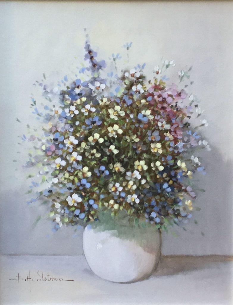 Schilderijen te koop van kunstschilderB.H. Slotman bloemstilleven olie op doek, doekmaat 50 x 40 cm linksonder gesigneerd, Expositie Galerie Wijdemeren Breukeleveen