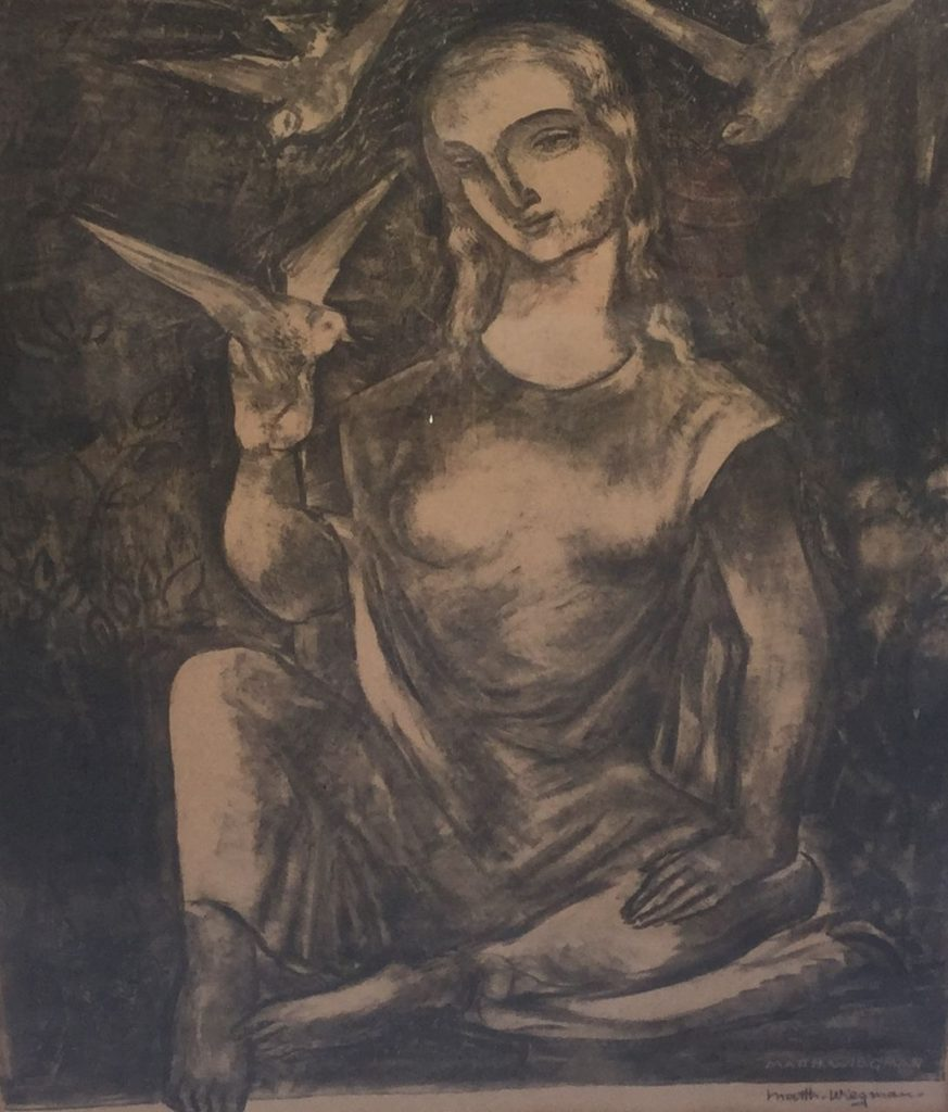 Schilderijen te koop van kunstschilder Matthieu Wiegman Dame met vredesduifjes druk, litho, 51 x 41 cm, Expositie Galerie Wijdemeren Breukeleveen