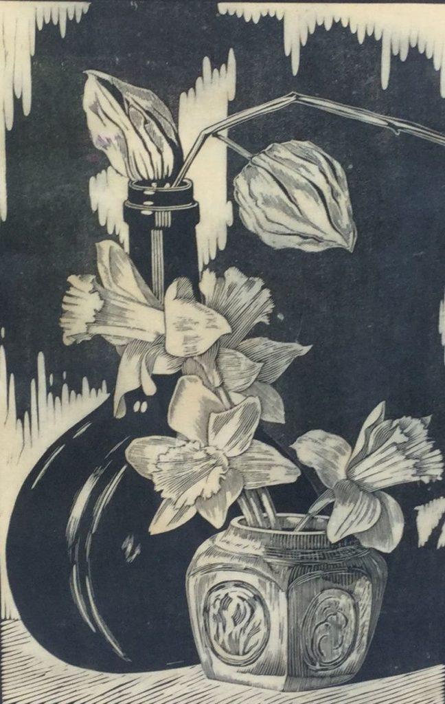 Schilderijen te koop, stilleven houtsnede, handdruk oplage 1/100, beeldmaat 42.5 x 27 cm rechtsonder gesigneerd, expositie Galerie Wijdemeren Breukeleveen