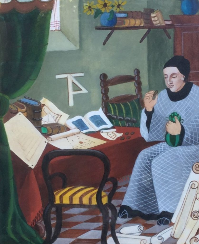 Schilderijen te koop van kunstschilder St. June XIV, 28 Onze lieve vrouwe Adbij Oosterhout rechtsonder gesigneerd, 7feb 1947 gedateerd gemengde techniek op papier, beeldmaat 25.5 x 21 cm, Expositie Galerie Wijdemeren Breukeleveen