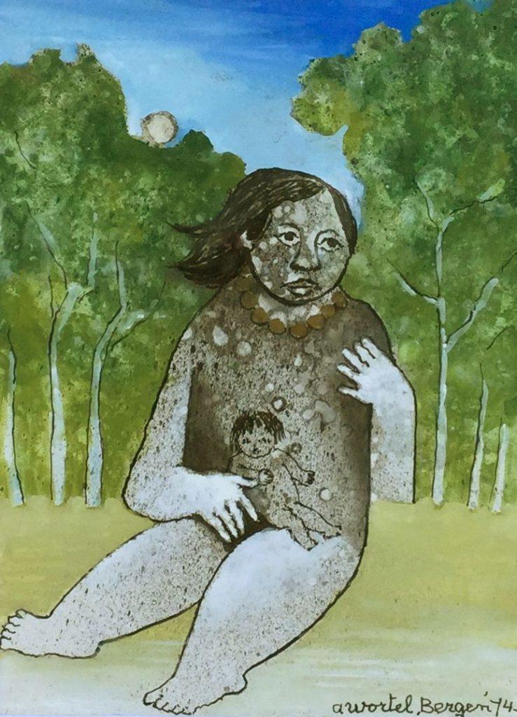 Schilderijen te koop van kunstschilder Ans Wortel Bergen gemengde techniek op geschept papier, beeldmaat 27.5 x 20 cm rechtsonder gesigneerd en gedateerd 74, Expositie Galerie Wijdemeren Breukeleveen