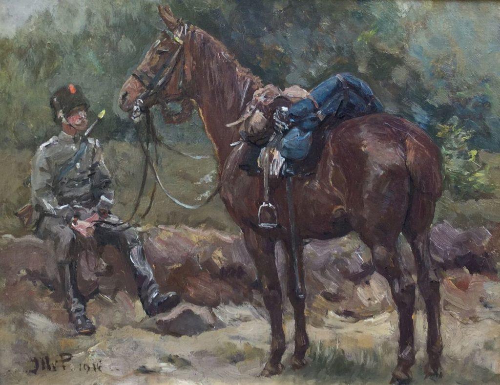 Schilderijen te koop van kunstschilder Jan Hoynck van Papendrecht Militair met zijn paard maroufle, 22.5 x 29 cm linksonder gesigneerd en gedateerd 1916, Expositie Galerie Wijdemeren Breukeleveen