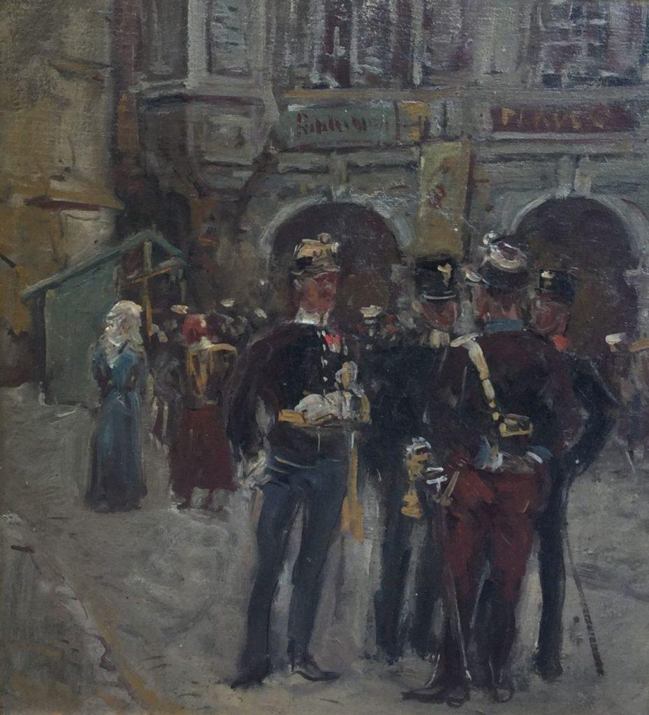 Schilderijen te koop van kunstschilder Jan Hoynck van Papendrecht Militairen/officieren in stadsbeeld maroufle, olie op doek op paneel, 29.5 x 26.5 cm ongesigneerd, Expositie Galerie Wijdemeren Breukeleveen