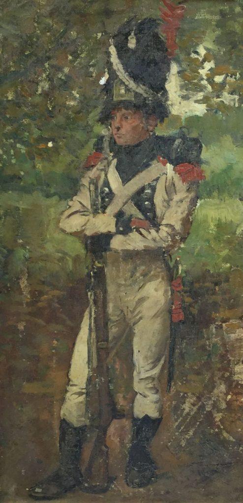 Schilderijen te koop van kunstschilder Jan Hoynck van Papendrecht Gewaden van het 82e reg. infanterie 1807-10 maroufle, olie op doek op paneel, 41 x 20.5 cm, Expositie Galerie Wijdemeren Breukeleveen
