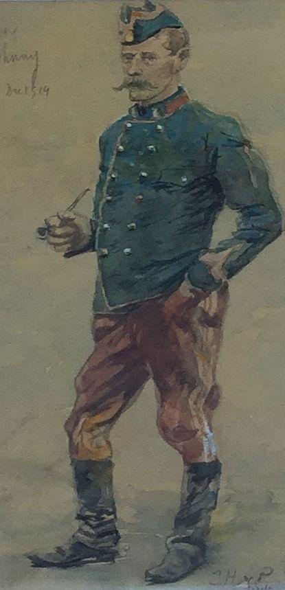 Schilderijen te koop van kunstschilder Jan Hoynck van Papendrecht Aan Johnny 5 dec 1914 aquarel op papier, 23.5 x 10.5 cm rechtsonder gesigneerd en gedateerd 1914, Expositie Galerie Wijdemeren Breukeleveen