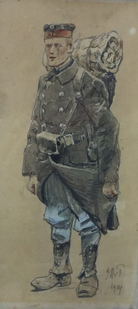 Schilderijen te koop van kunstschilder Jan Hoynck van Papendrecht Portret van een militair aquarel, 23.5 x 10.5 cm rechtsonder gesigneerd en gedateerd 1914, Expositie Galerie Wijdemeren Breukeleveen