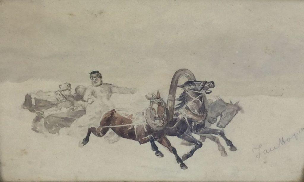 Schilderijen te koop van kunstschilder Jan Hoynck van Papendrecht Schets van paarden voor de wagen aquarel op papier, 20.5 x 29 cm rechtsonder gesigneerd, Expositie Galerie Wijdemeren Breukeleveen