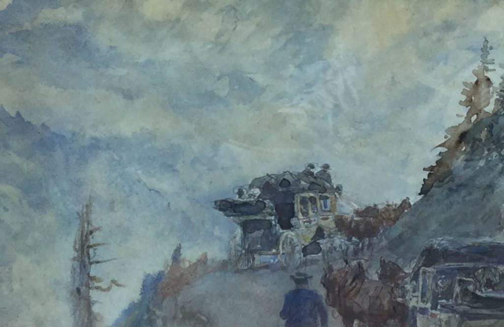 Schilderijen te koop van kunstschilder Jan Hoynck van Papendrecht Koetsrit door de bergen aquarel, 15 x 21 cm ongesigneerd, Expositie Galerie Wijdemeren Breukeleveen