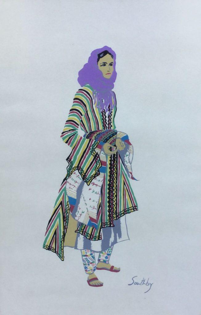 Schilderijen te koop van kunstschilder Susan Southby Costumes of the Holy Land pouchoir, 45 x 30 cm rechtsonder gesigneerd in druk, Expositie Galerie Wijdemeren Breukeleveen