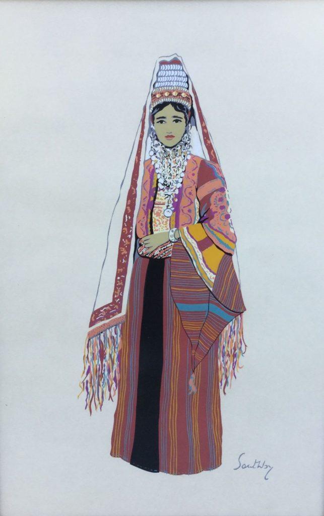 Schilderijen te koop van kunstschilder Susan Southby Arab woman of Bethlehem pouchoir, 45 x 30 cm rechtsonder gesigneerd in druk, Expositie Galerie Wijdemeren Breukeleveen
