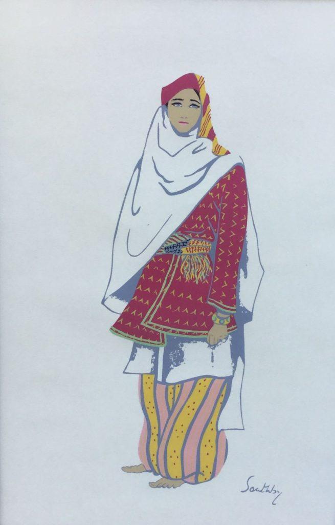 Schilderijen te koop van kunstschilder Susan Southby Arab woman of dabburieh (near Nazareth) Pouchoir, 45 x 30 cm rechtsonder gesigneerd in druk, Expositie Galerie Wijdemeren Breukeleveen