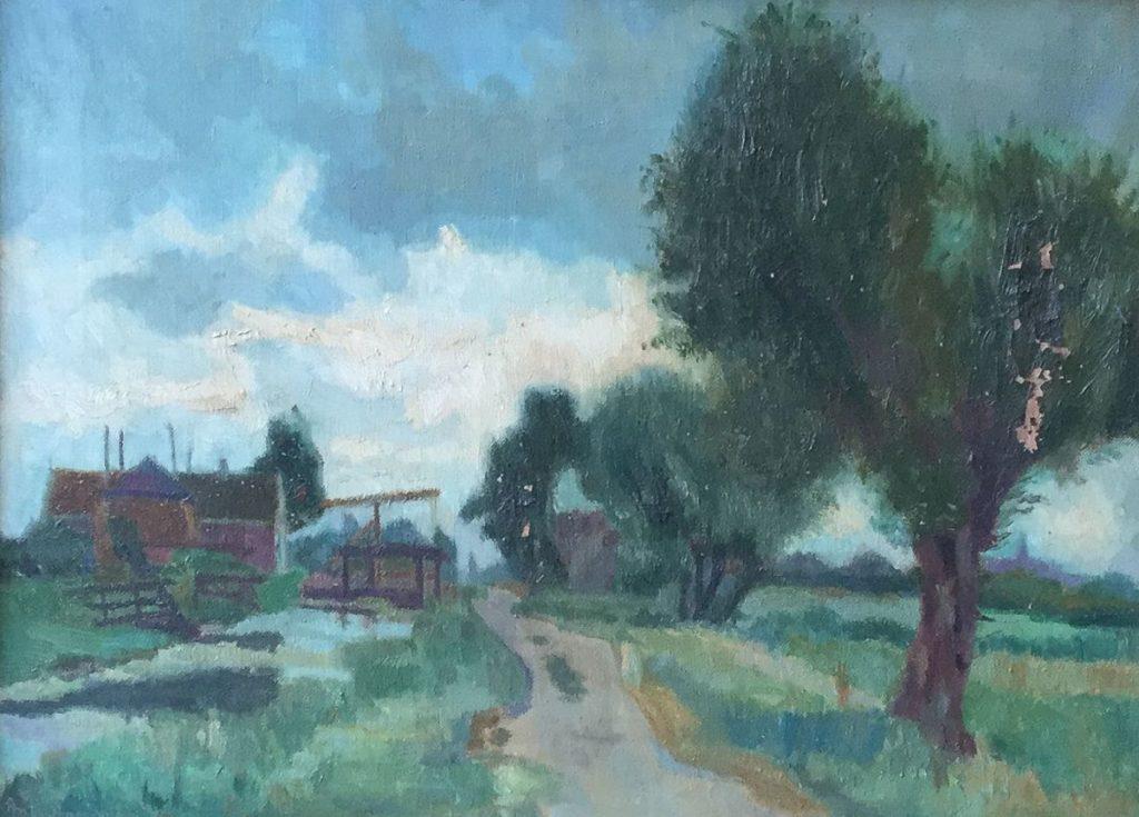 Schilderijen te koop van kunstschilder Anton Smeerdijk Huisjes aan de Kortenhoefsedijk olie op doek, doekmaat 31 x 41 cm linksonder gesigneerd, Expositie Galerie Wijdemeren Breukeleveen