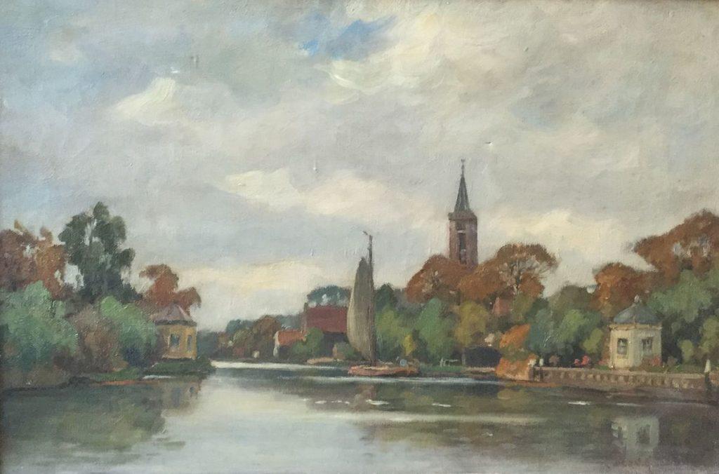 Schilderijen te koop van kunstschilder Bernard van Beek De Vecht bij Loenen olie op doek, doekmaat 32.5 x 48.5 cm rechtsonder gesigneerd, Expositie Galerie Wijdemeren Breukeleveen