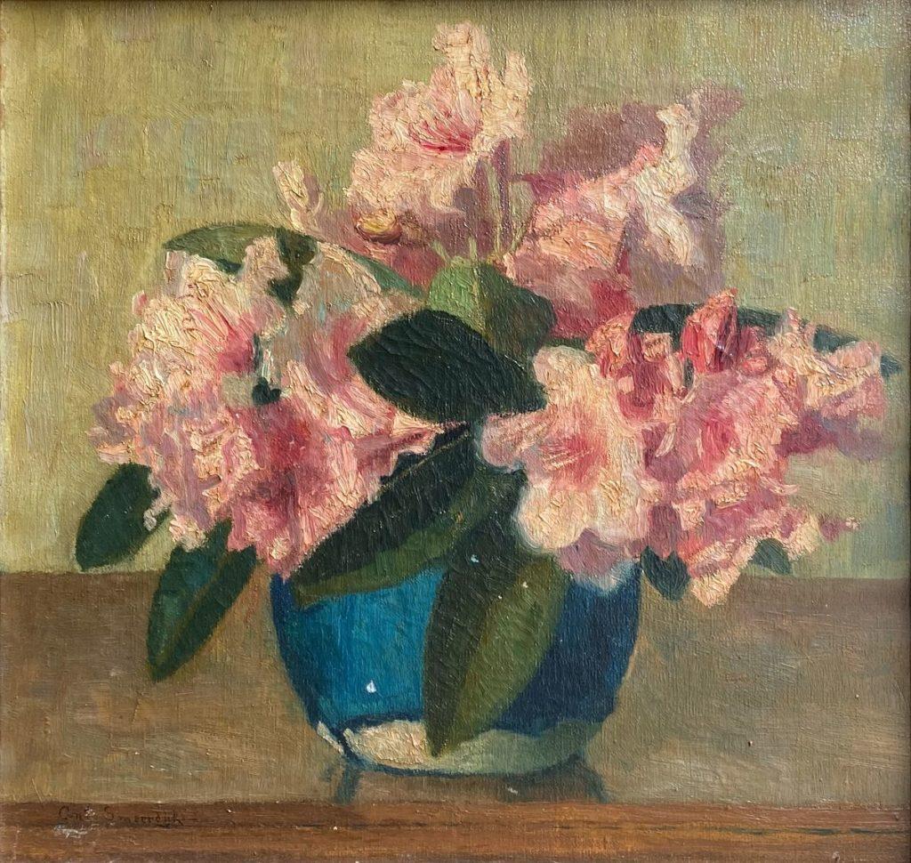 Kunst te koop bij Galerie WIjdemeren van kunstschilder Anton Smeerdijk Azalea in gemberpot olie op doek, doekmaat 40 x 42 cm linksonder gesigneerd