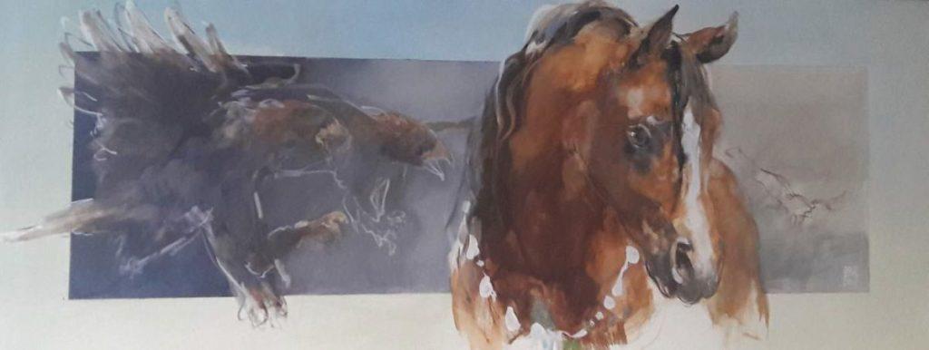 Schilderijen te koop van kunstschilder Marli Hommel Paard met adelaar olie op doek, 80 x 200 cm r.o. gesigneerd met monogram en gedateerd 2003, Expositie Galerie Wijdemeren Breukeleveen