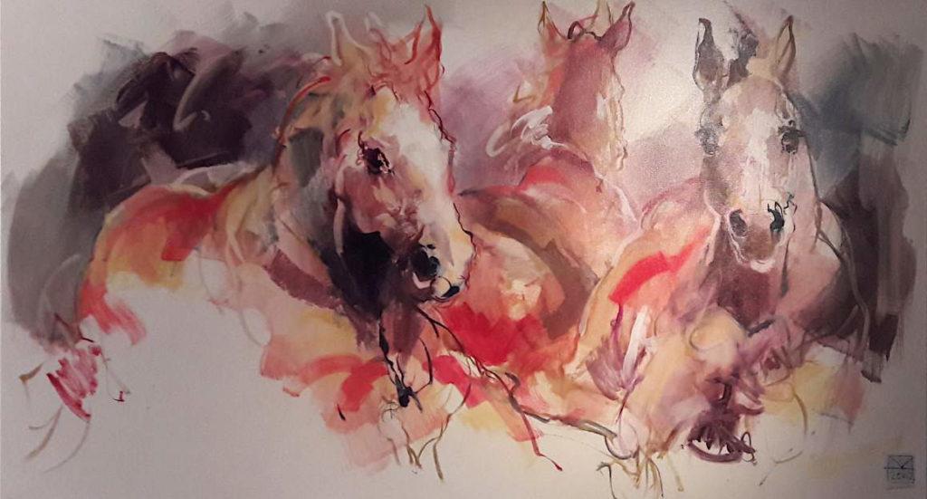 Schilderijen te koop van kunstschilder Marli Hommel Drie paarden olie op doek, 100 x 180 cm r.o. gesigneerd met monogram en gedateerd 2002, Expositie Galerie Wijdemeren Breukeleveen