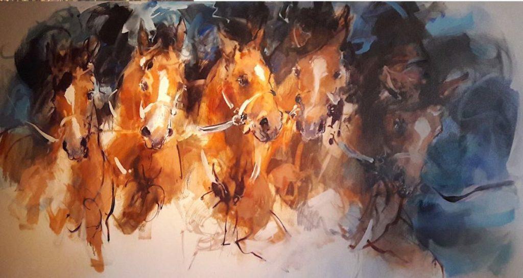 Schilderijen te koop van kunstschilder Marli Hommel Paardenkudde olie op doek, 100 x 80 cm r.o. gesigneerd met monogram en gedateerd 2003, Expositie Galerie Wijdemeren Breukeleveen