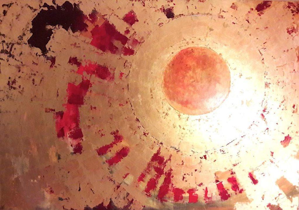 Schilderijen te koop van kunstschilder Maria Verstappen Zon Gemengde techniek met bladgoud op doek, 140 x 200 cm l.o. gesigneerd met monogram en gedateerd '05, Expositie Galerie Wijdemeren Breukeleveen