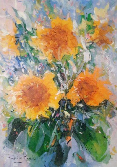Schilderijen te koop van kunstschilder Rob de Haan Bloemstilleven olie op paneel, 82 x 57 cm l.o. gesigneerd, Expositie Galerie Wijdemeren Breukeleveen