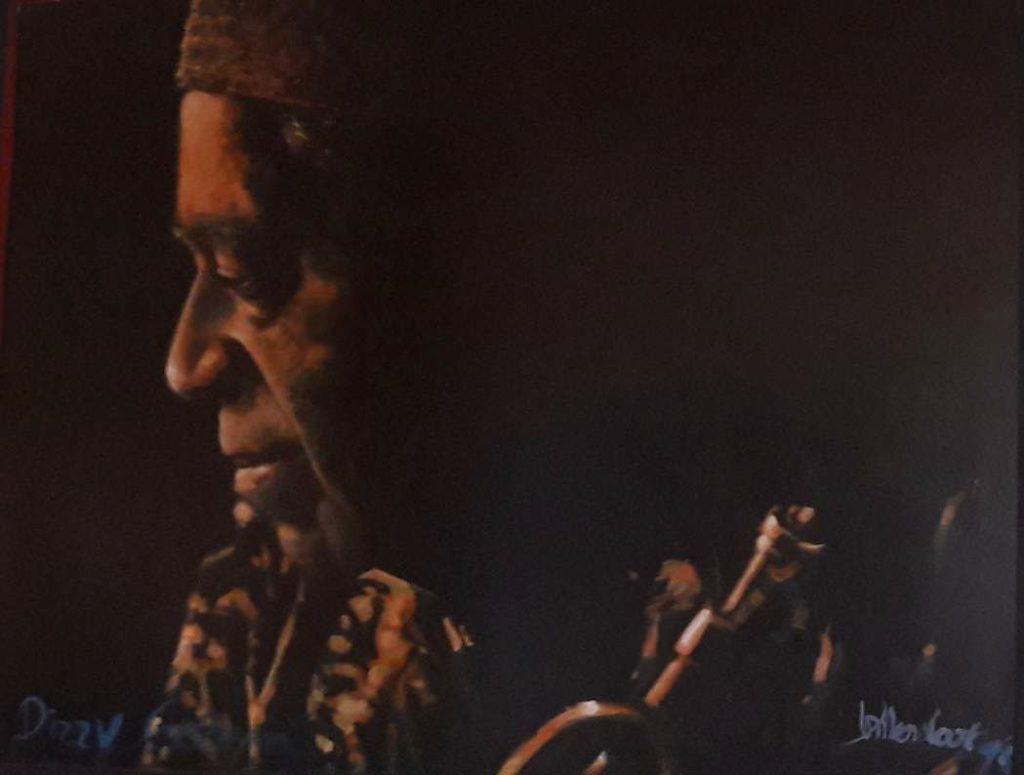 Schilderijen te koop van kunstschilder Peter Donkersloot Portret Dizzy Gillespie olie op paneel, 121 x 140,5 cm r.o. gesigneerd en gedateerd 98, Expositie Galerie Wijdemeren Breukeleveen