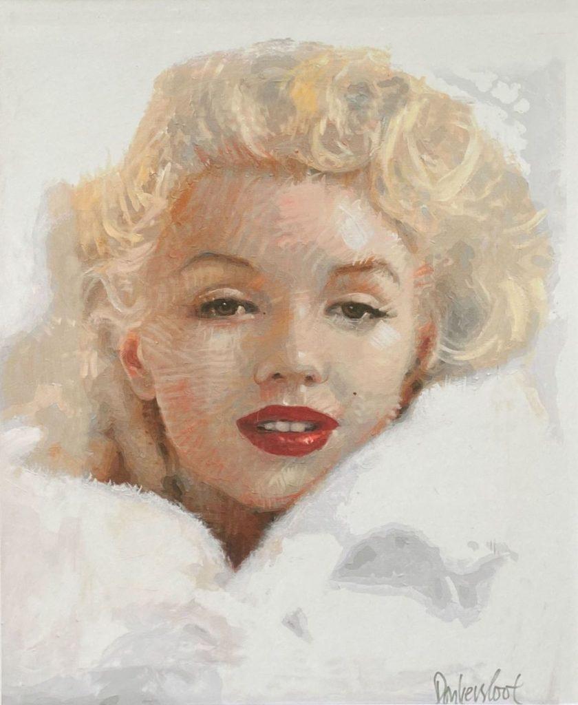 Schilderijen te koop van kunstschilder Peter Donkersloot Portret Marilyn Monroe druk, 101 x 80 cm r.o. handgesigneerd in zilverstift, Expositie Galerie Wijdemeren Breukeleveen
