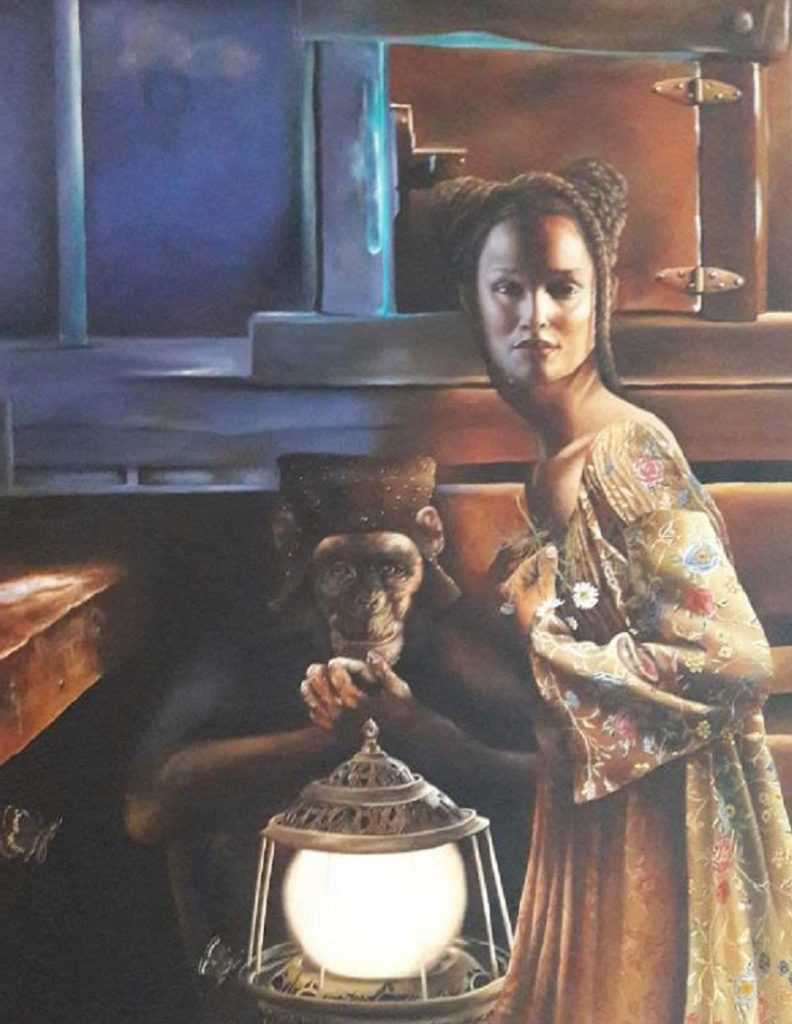 Schilderijen te koop van kunstschilder Helene Terlien Dame met lantaarn olie op doek, 90 x 70 cm l.o. gesigneerd en gedateerd 99, Expositie Galerie Wijdemeren Breukeleveen