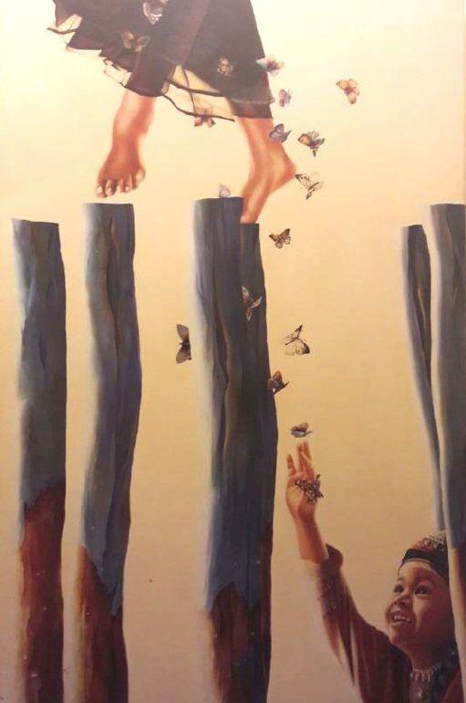 Schilderijen te koop van kunstschilder Helene Terlien Kind met vlinders olie op doek, 120 x 80 cm l.o. gesigneerd en gedateerd '99 particuliere collectie, Expositie Galerie Wijdemeren Breukeleveen
