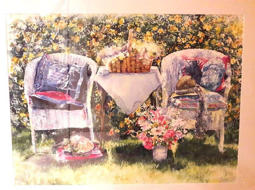 Schilderijen te koop van kunstschilder Annette Kane Zitje in de tuin aquarel, 55 x 74 cm r.o. gesigneerd, Expositie Galerie Wijdemeren Breukeleveen