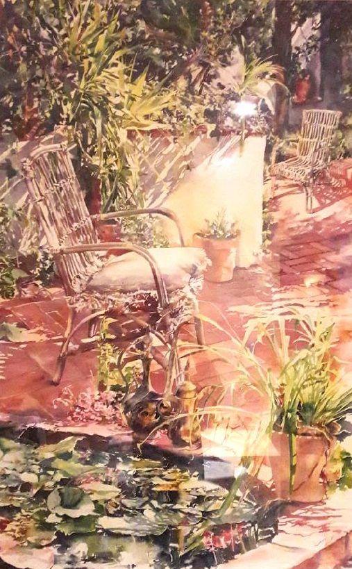 Schilderijen te koop van kunstschilder Anette Kane Gezicht op de tuin aquarel, 93,5 x 60,5 cm r.o. gesigneerd, Expositie Galerie Wijdemeren Breukeleveen