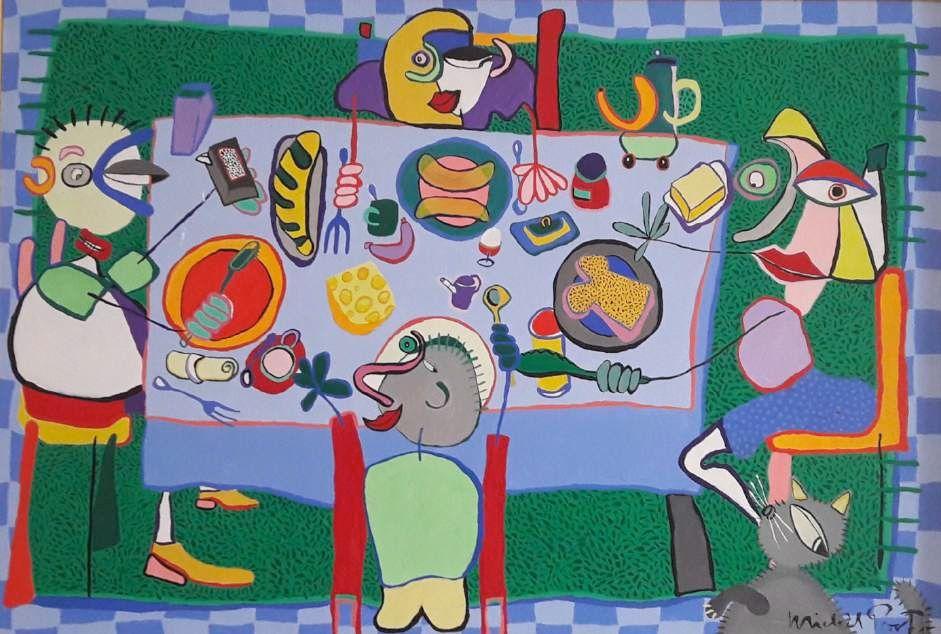 Schilderijen te koop van kunstschilder Michèl Poort Familie aan de ontbijttafel olie op paneel, 108 x 158 cm r.o. gesigneerd, Expositie Galerie Wijdemeren Breukeleveen