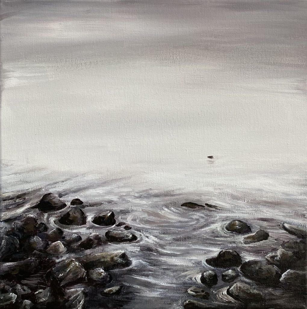 Galerie Wijdemeren, te koop van kunstschilder Salam Kadhim Mist acryl op doek, 30 x 30 cm