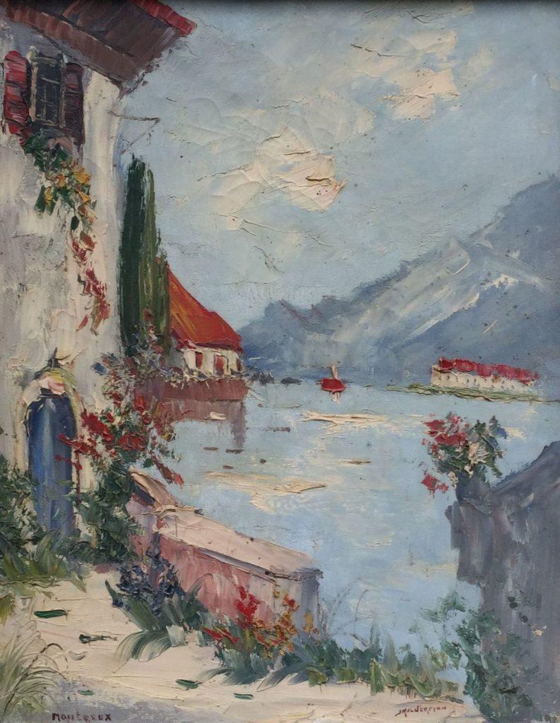 Schilderijen te koop van kunstschilder Jan Kelderman Montreux olie op doek, doekmaat 50.5 x 40 cm rechtsonder gesigneerd, Expositie Galerie Wijdemeren Breukeleveen