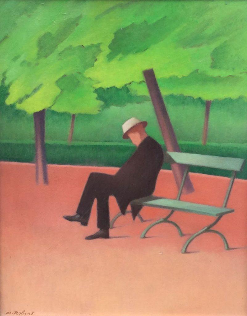 Schilderijen te koop van kunstschilder Marcel Robert Zittend onder de fruitboom olie op board, 49.5 x 40 cm linksonder gesigneerd, Expositie Galerie Wijdemeren Breukeleveen