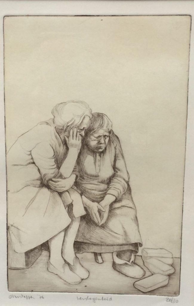 Schilderijen te koop verslagenheid, ets oplage 20/30 beeldmaat 32 x 22 cm linksonder gesigneerd